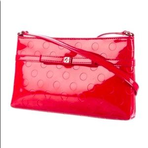 Kate Spade red patent leather crossbody bag w bow.